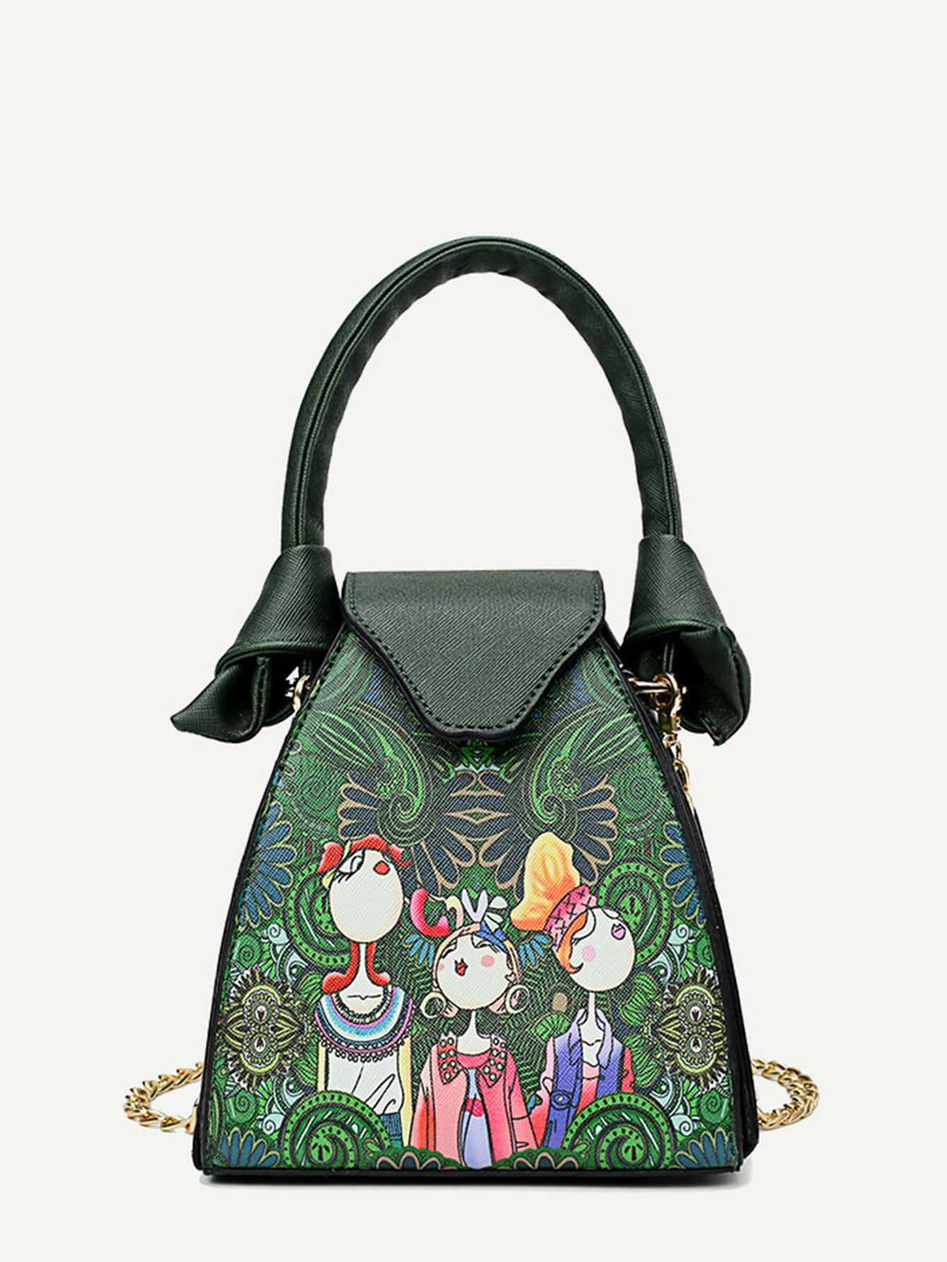 Figures Print Tote Bag With Chain Strap new bag strap chain wallet handle purse acrylic resin strap chain strap replaced bag strap bag spare parts