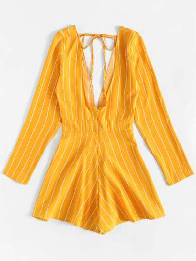 Romwe / Deep V-Neck Striped Jumpsuit