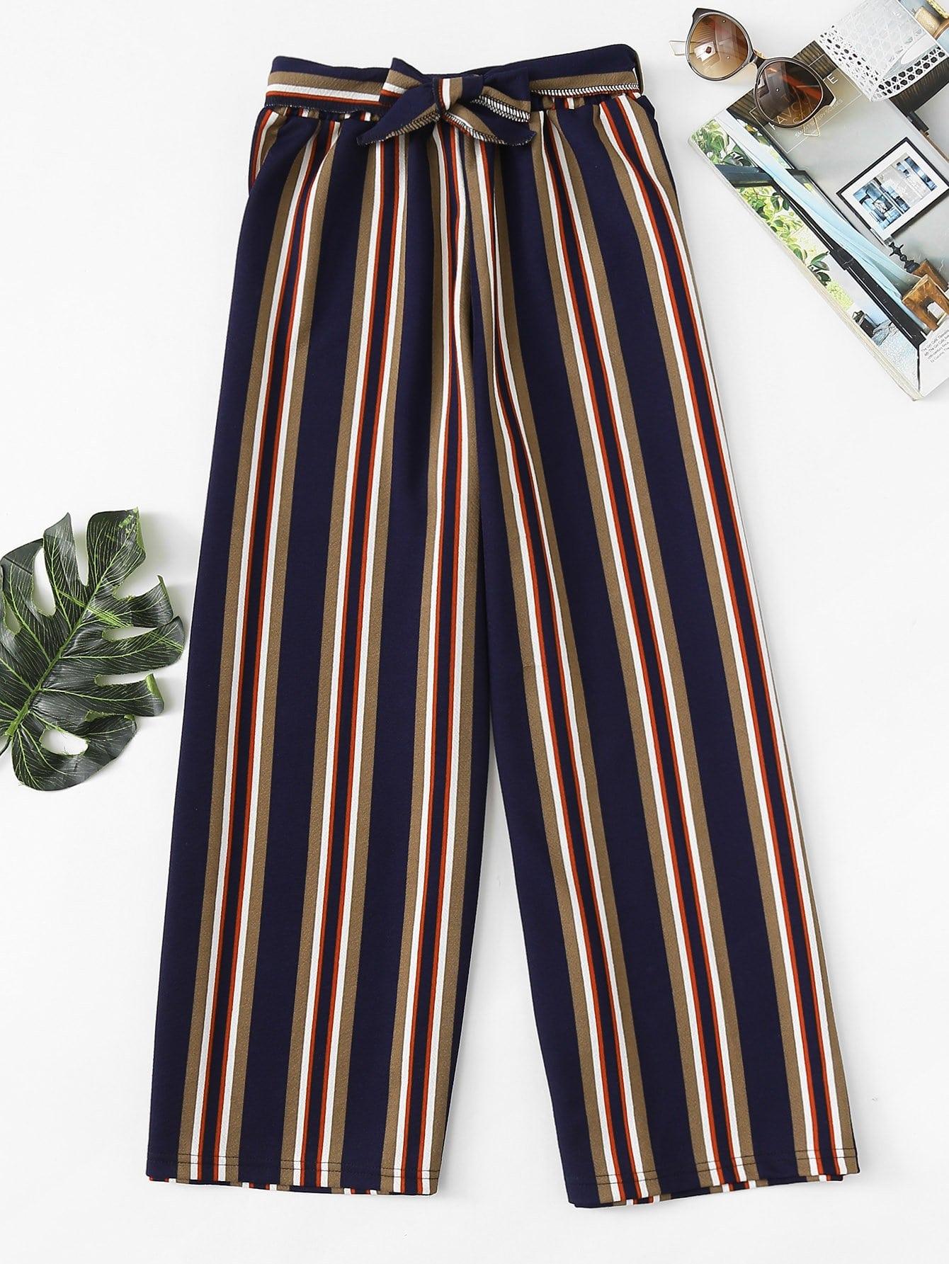 Block Striped Tie Detail Wide Leg Pants