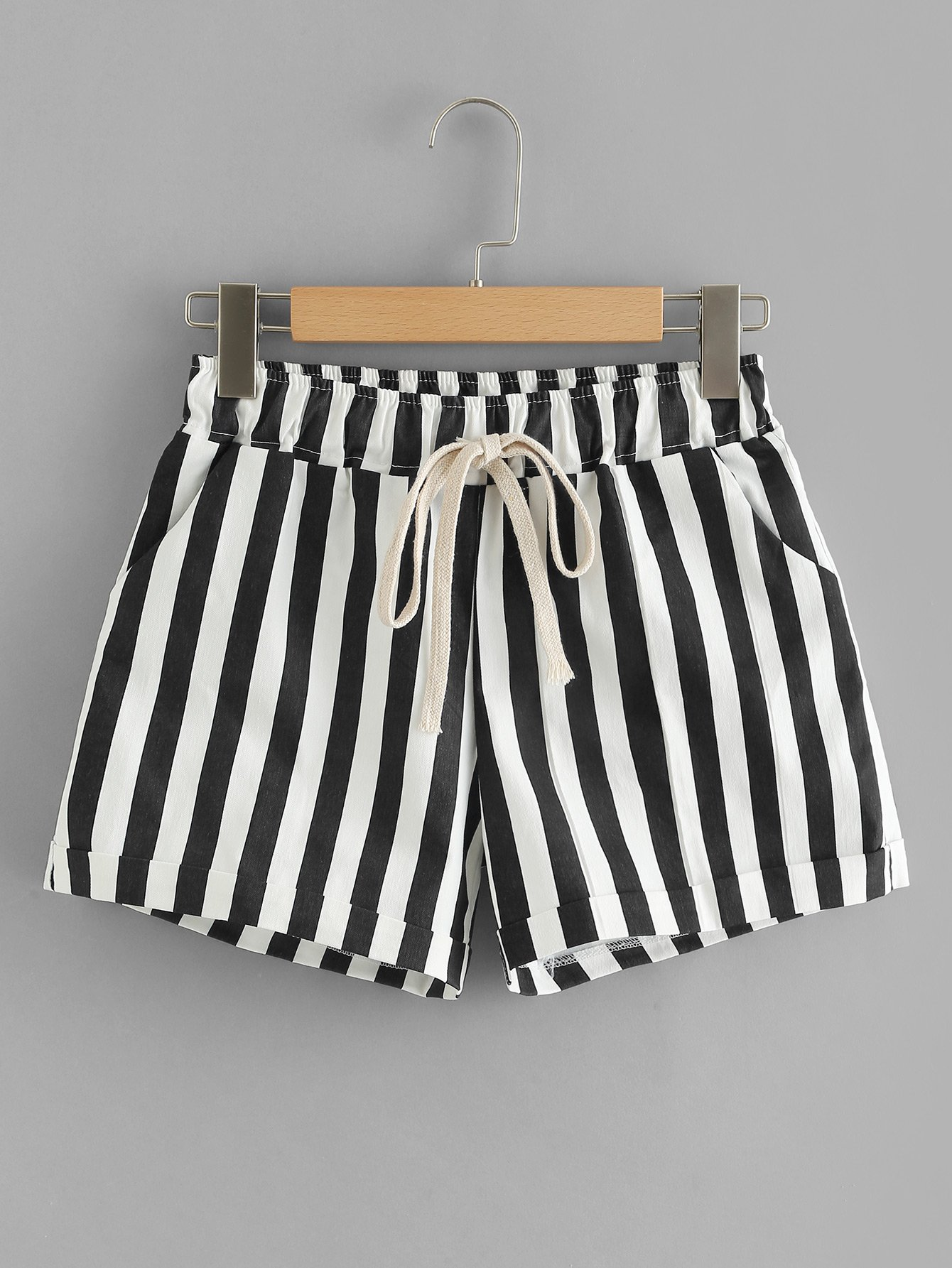 Tie Waist Pocket Side Striped Shorts