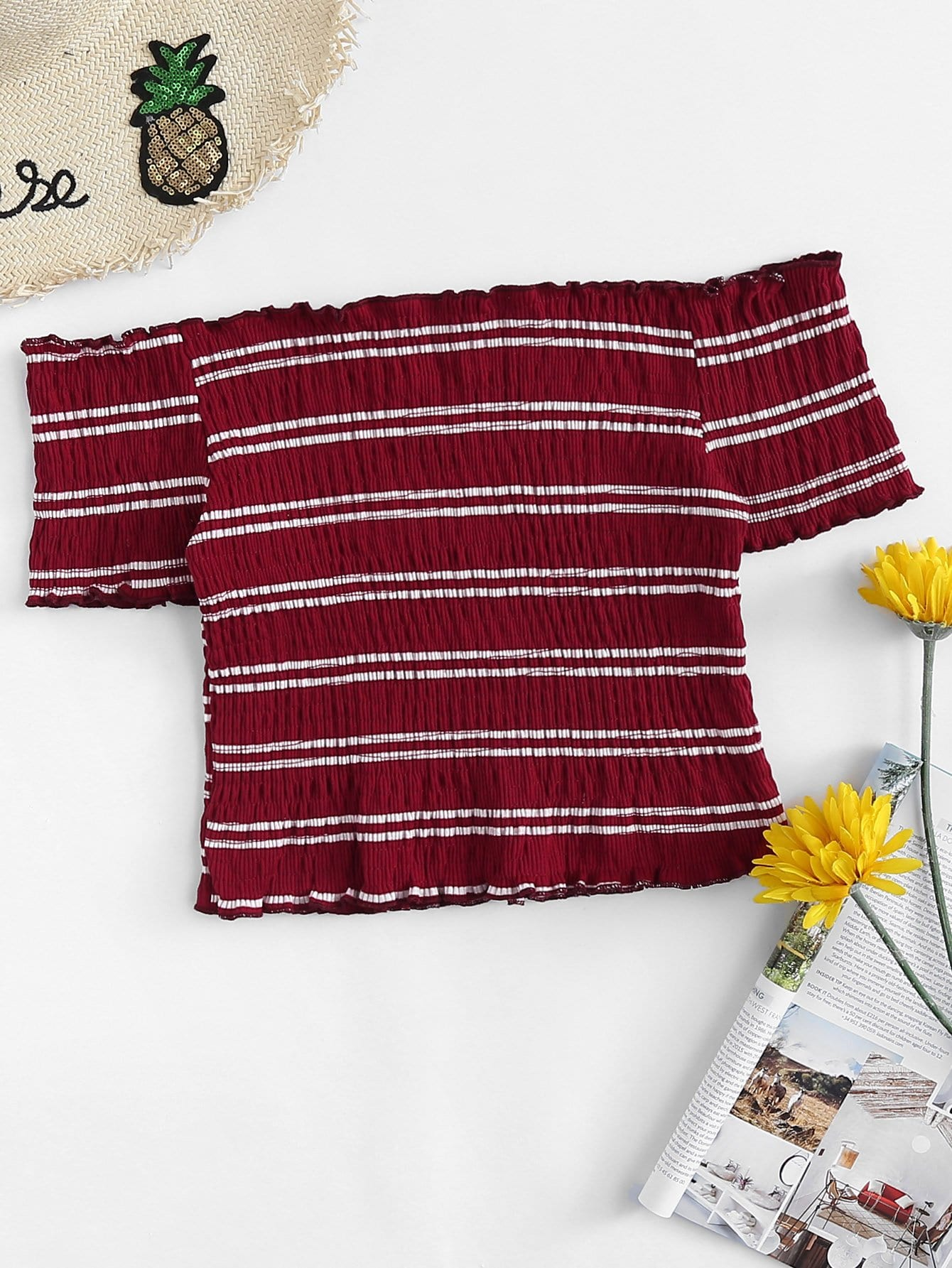 Купить Повседневный Полосатый Декоративный край Бордовый Блузы+рубашки, null, SheIn