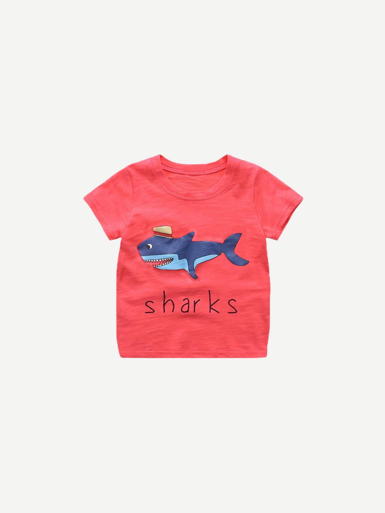 Купить Базовая футболка акула с надписью для детей, null, SheIn