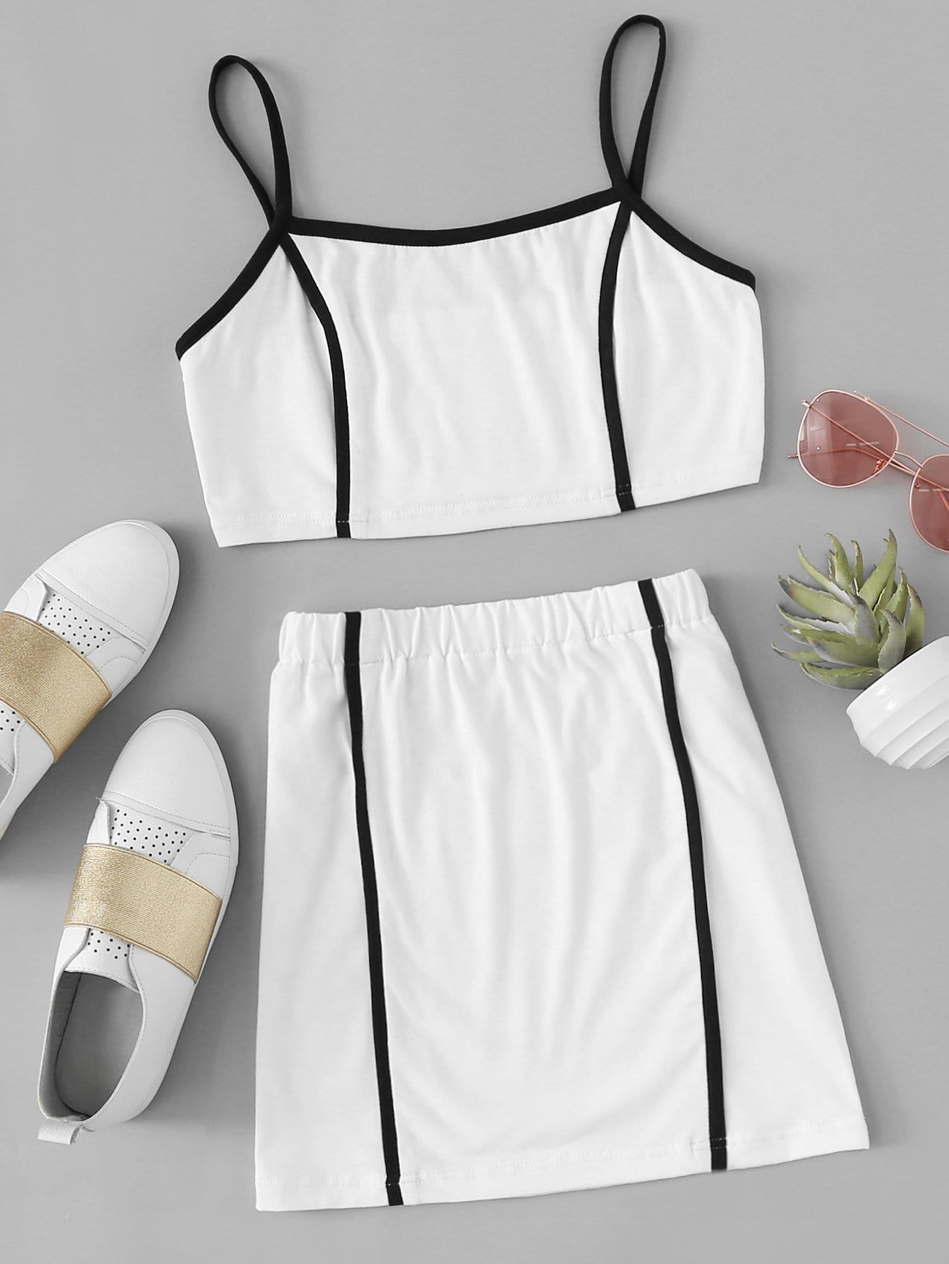 Contrast Trim Cami Top With Skirt