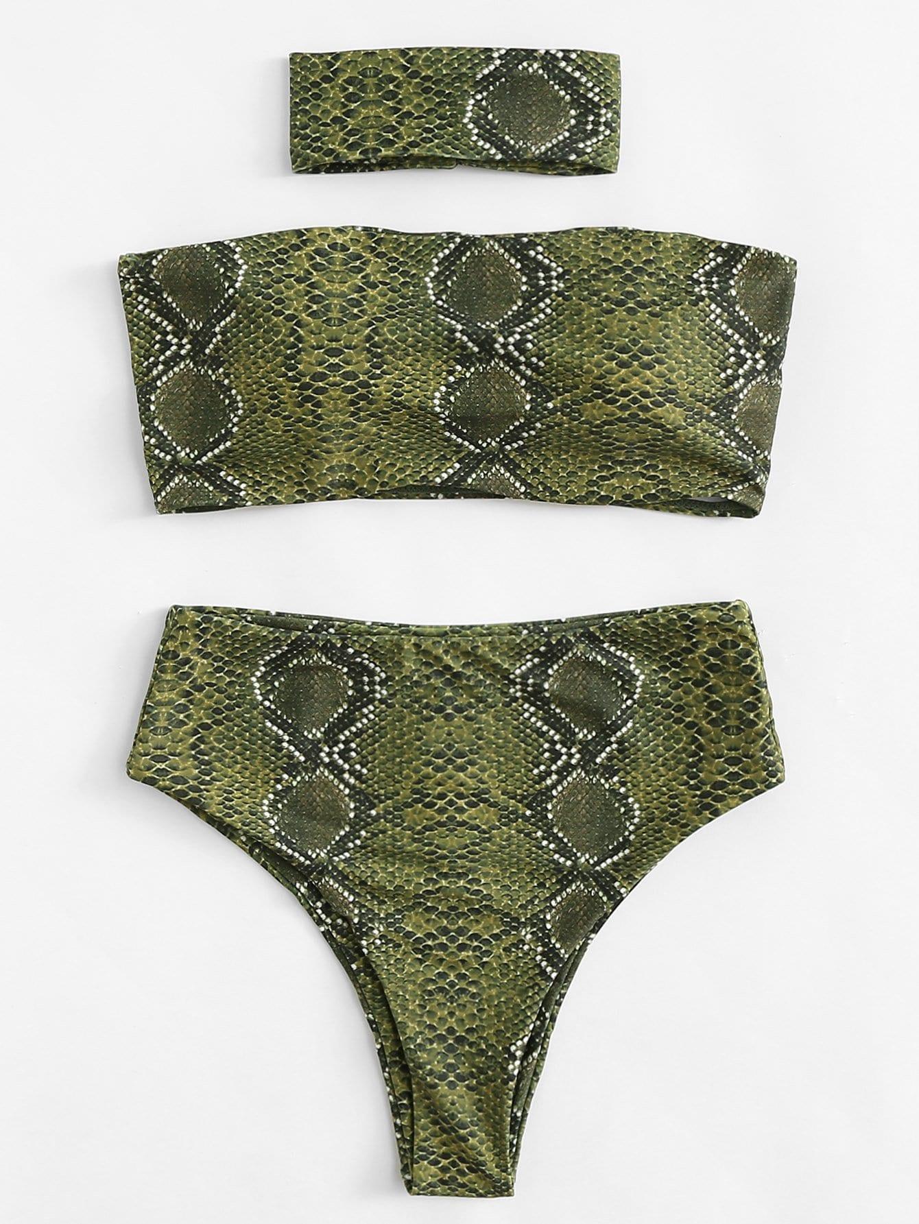 Купить Комплект бикини змеиная кожа с чокером, null, SheIn