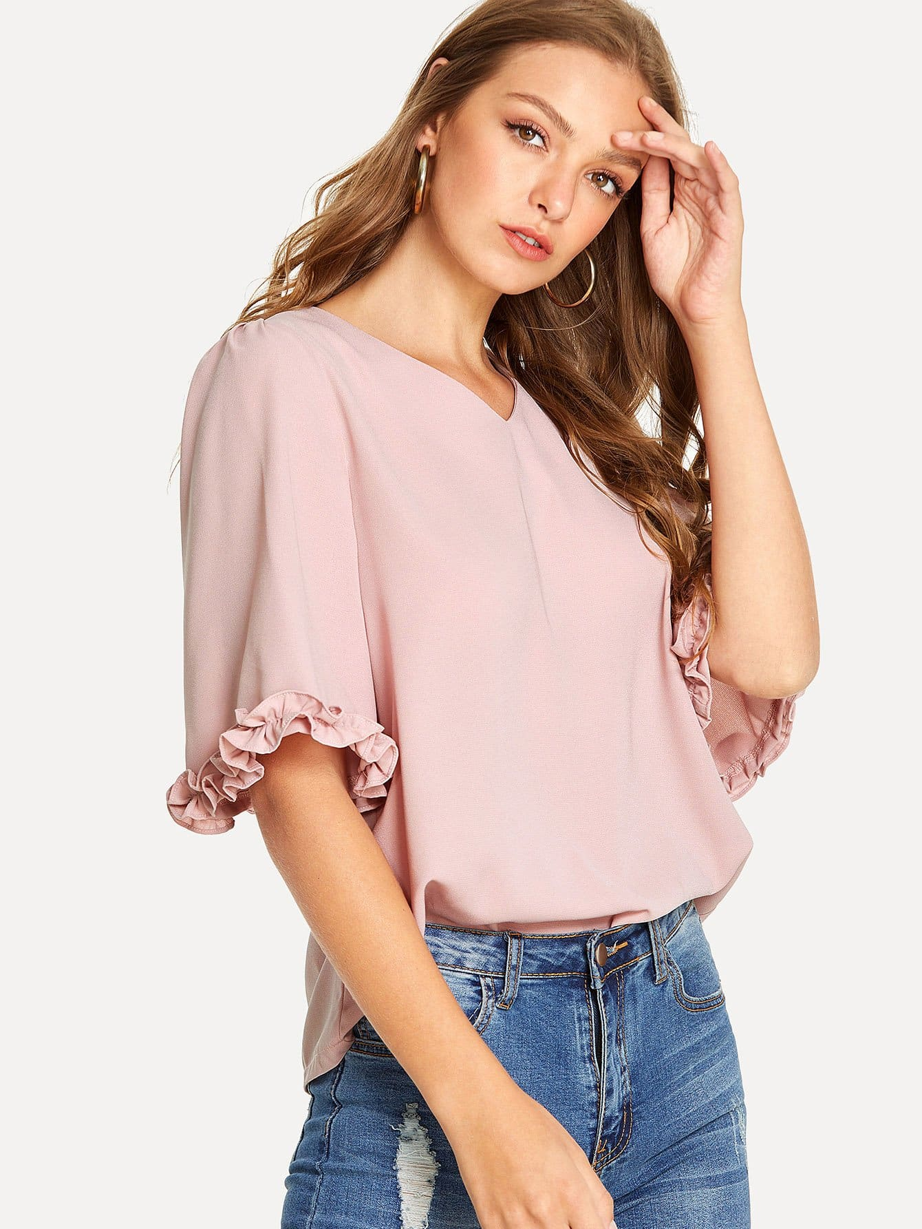 Midi Sleeves With Floral Binding Detail Blouse sheer dotted blouse with smocked detail