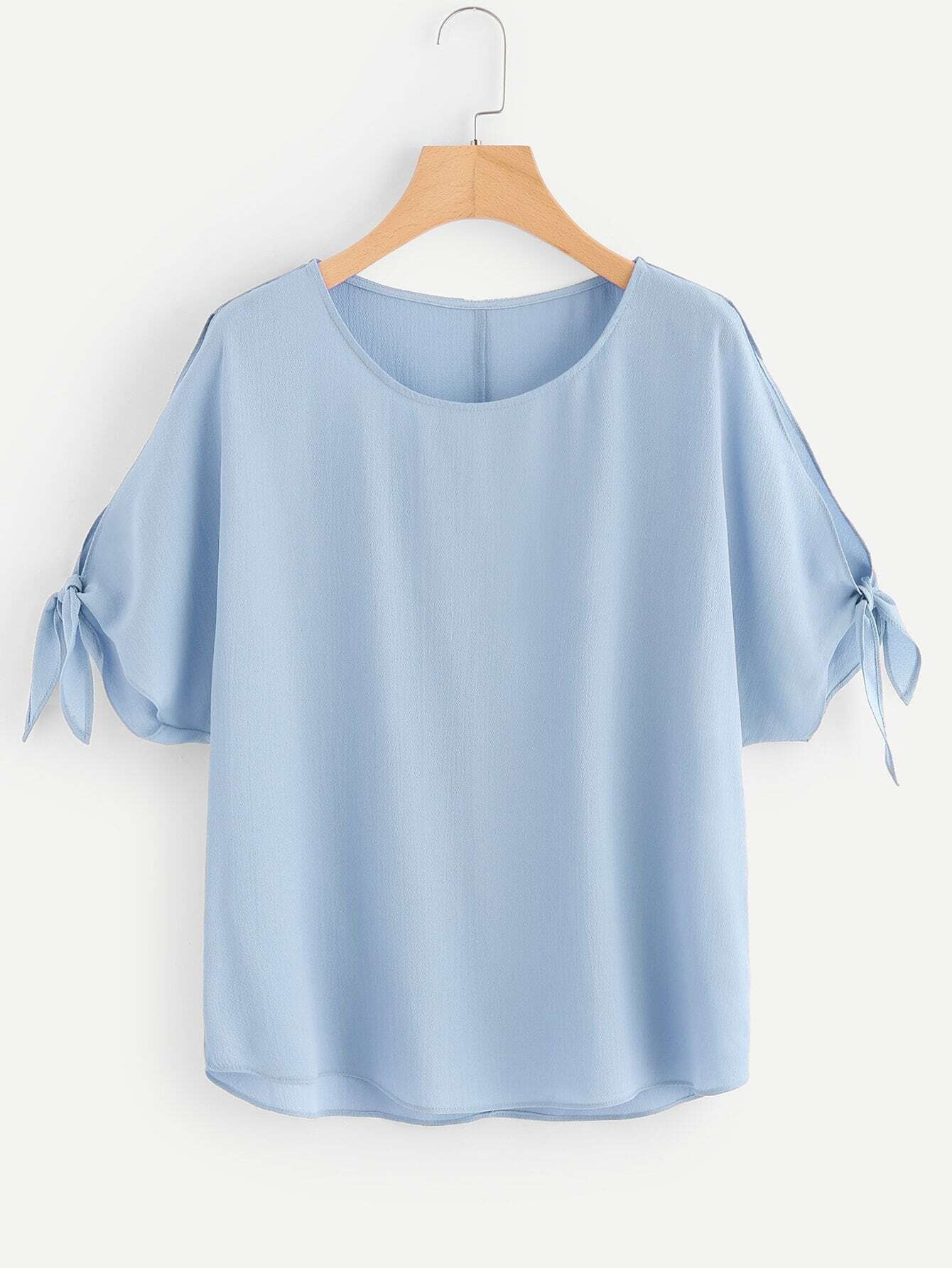 Split Sleeves With Knot Detail Blouse knot front hollow detail blouse