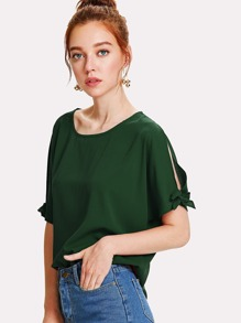 Split Sleeves With Knot Detail Blouse