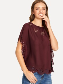 Flower Hollow Out Scallop Edge Crewneck Top