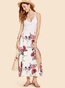 Contrast Lace Floral Long Dress