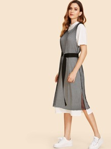 Short Sleeve Long Dress With Belt Net Dress