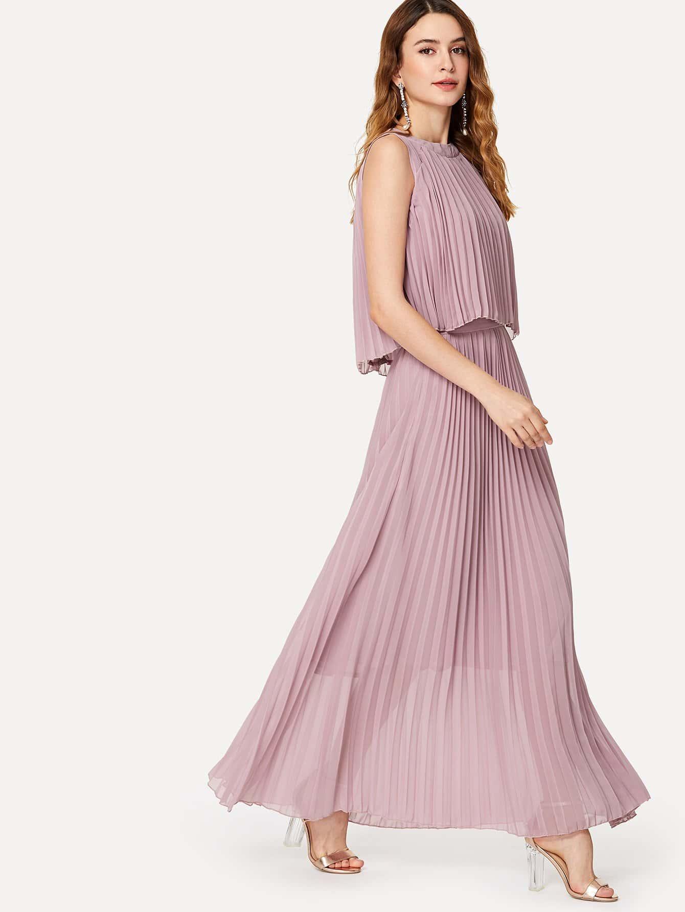 Купить Длинное платье без рукавов с плиссированнми краями, Jana, SheIn