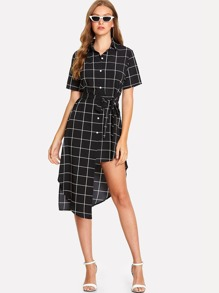 Grid Asymmetrical Striped Shirt Dress