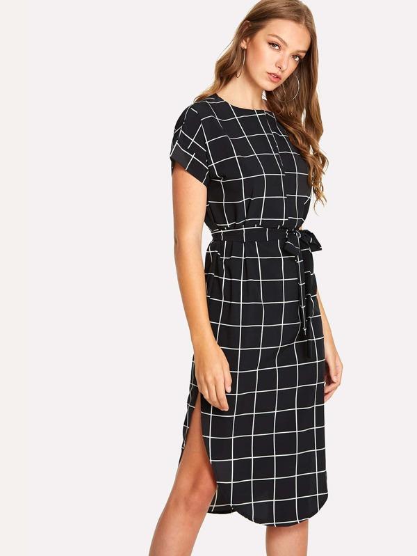 Grid Print Asymmetrical Dress by Sheinside