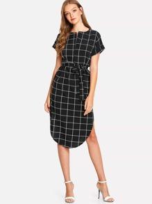 Grid Print Asymmetrical Dress