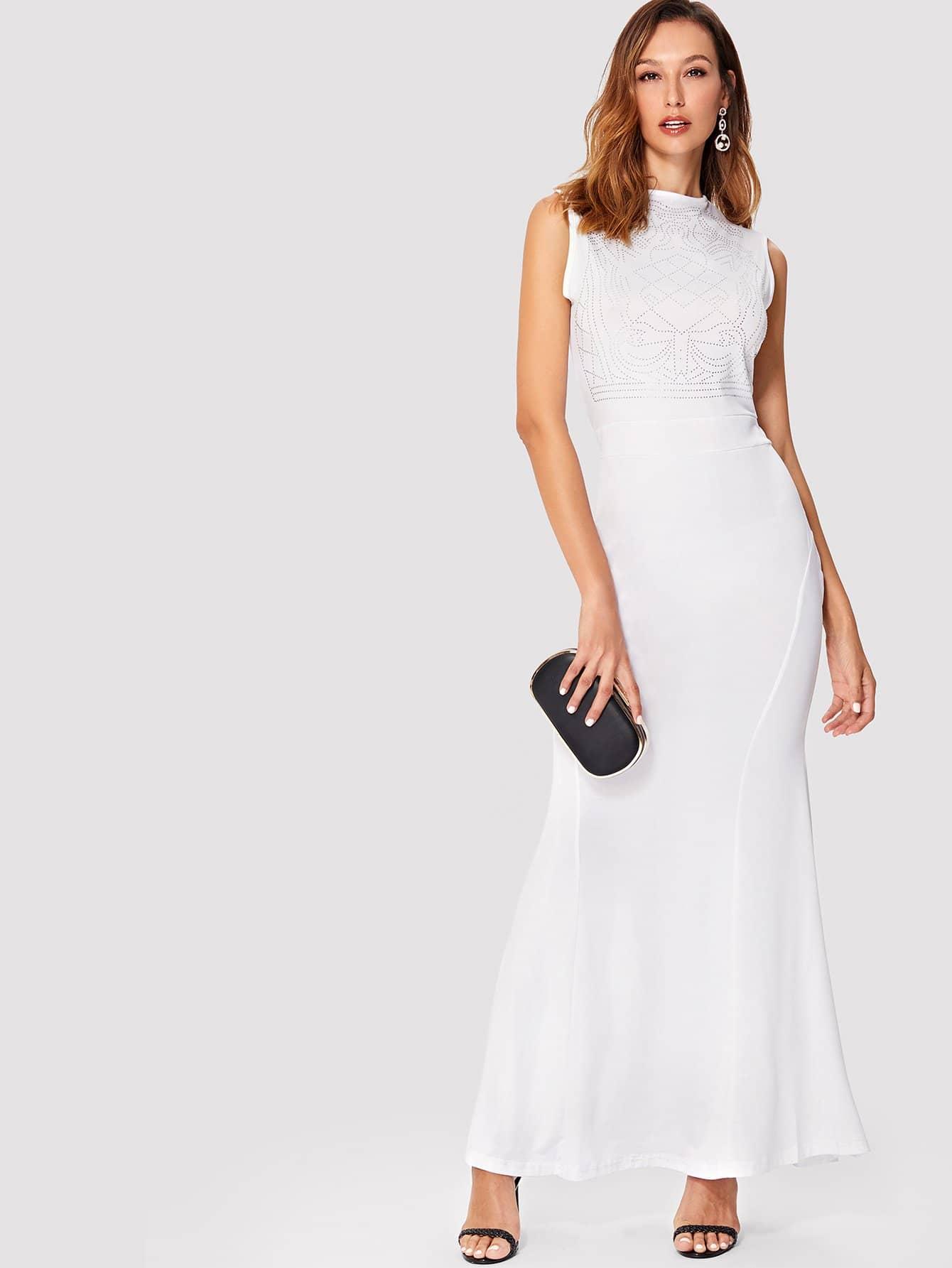 Diamond Tailored Mock Neck Long Dress diamond tailored mock neck long dress
