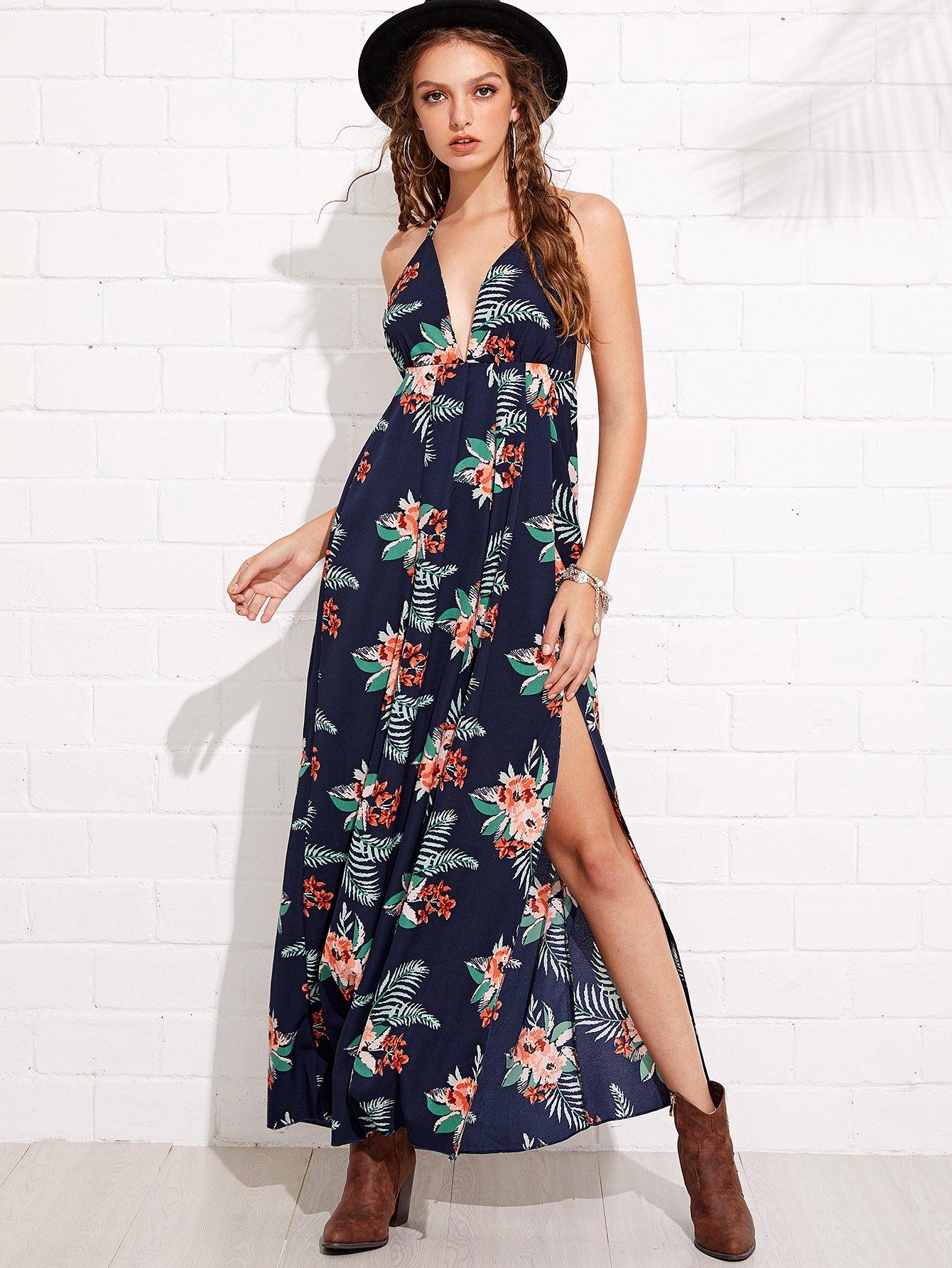 Купить Длинное платье бандо и краями в цветочек, Luiza, SheIn