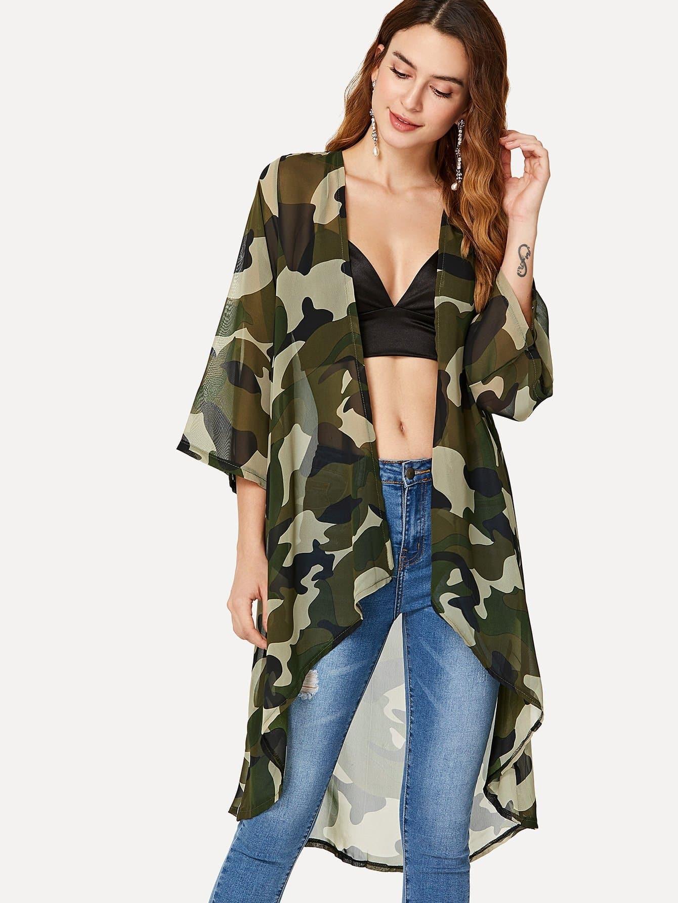 все цены на Camo Print See Through Kimono