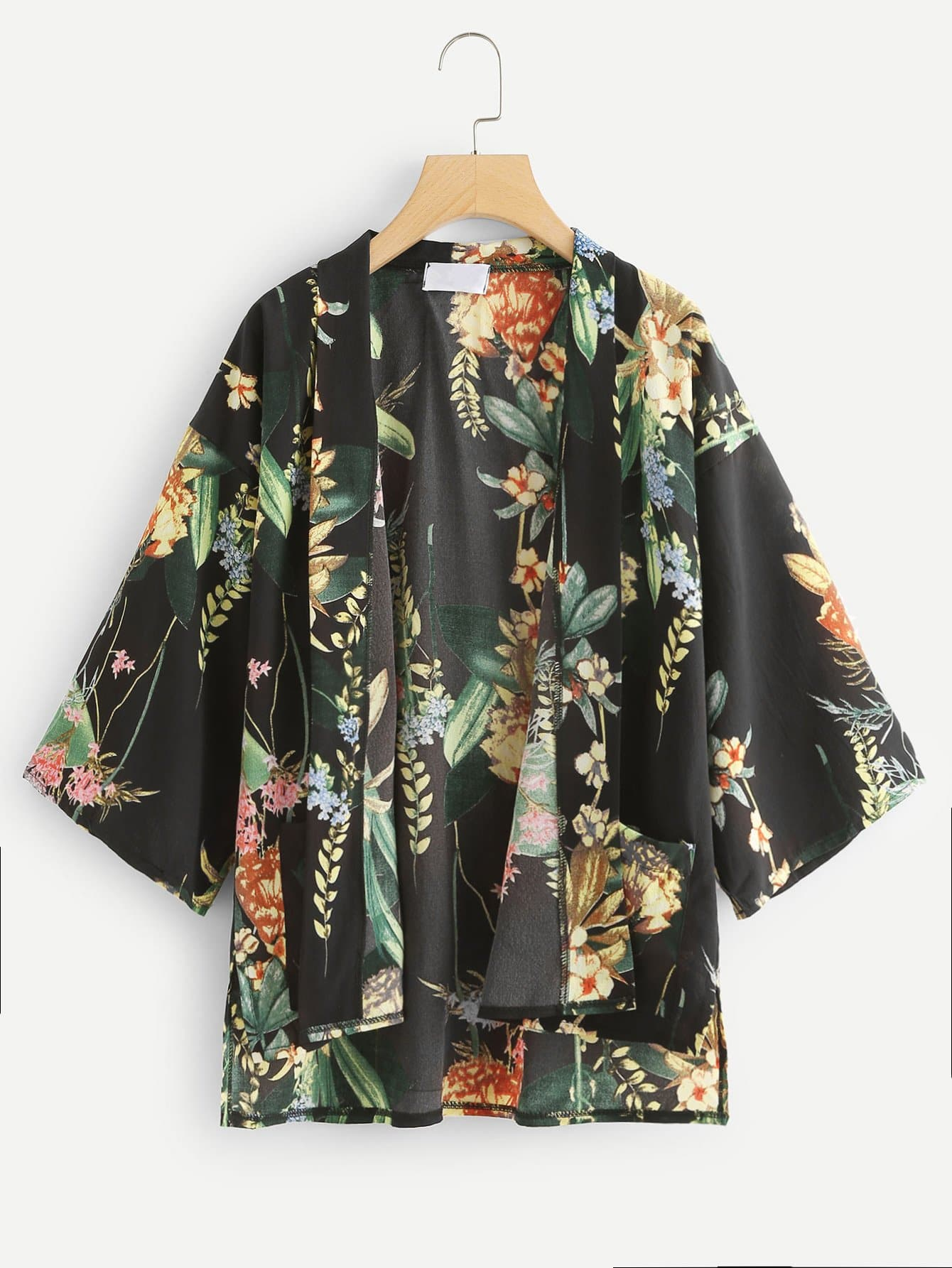 Floral Print Loose Fit Kimono floral print puff sleeve fit