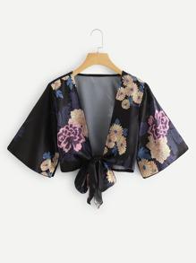 Floral Print Bow Knot Crop Kimono