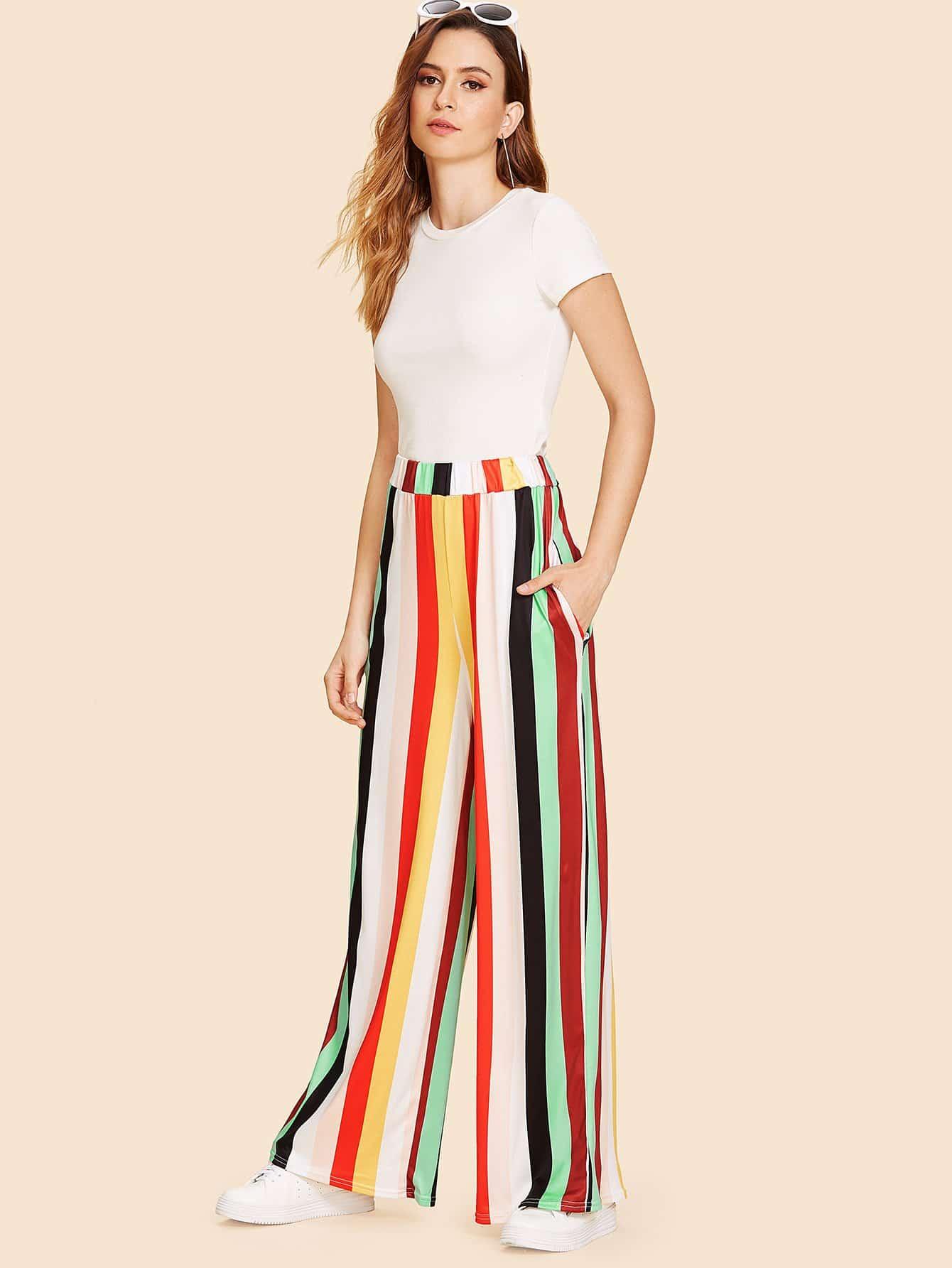 Rainbow Stretch High Waist Wide Leg Pants s xxl 2018 skinny slim high waist pencil pants women stretch sexy denim jeans bodycon leg split trousers