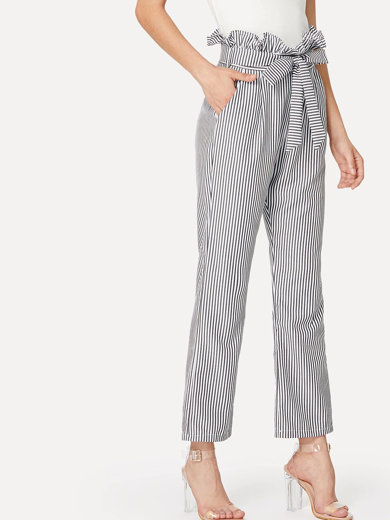 Self Belt Striped Wide Leg Pants With Ruffle Waist ruffle waist belted peg pants