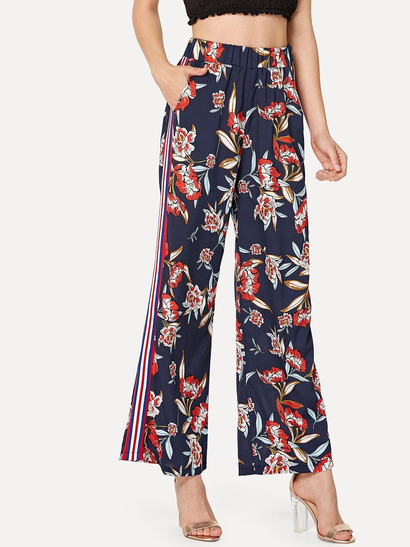 Купить Цветочное брюки с высокой талией, Jana, SheIn