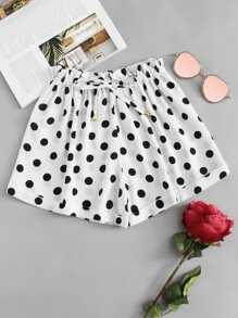 Polka Dot Elastic Strip Shorts