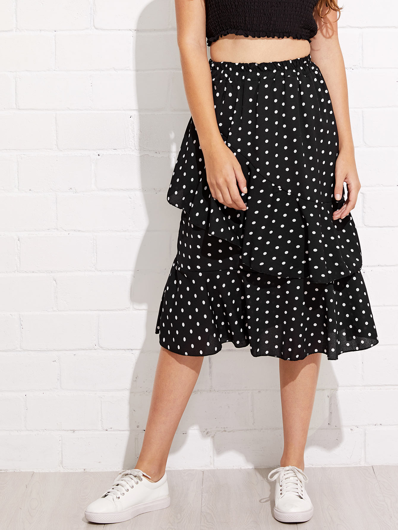 Tiered Layer Polka Dot Midi Skirt lace tiered layer skirt