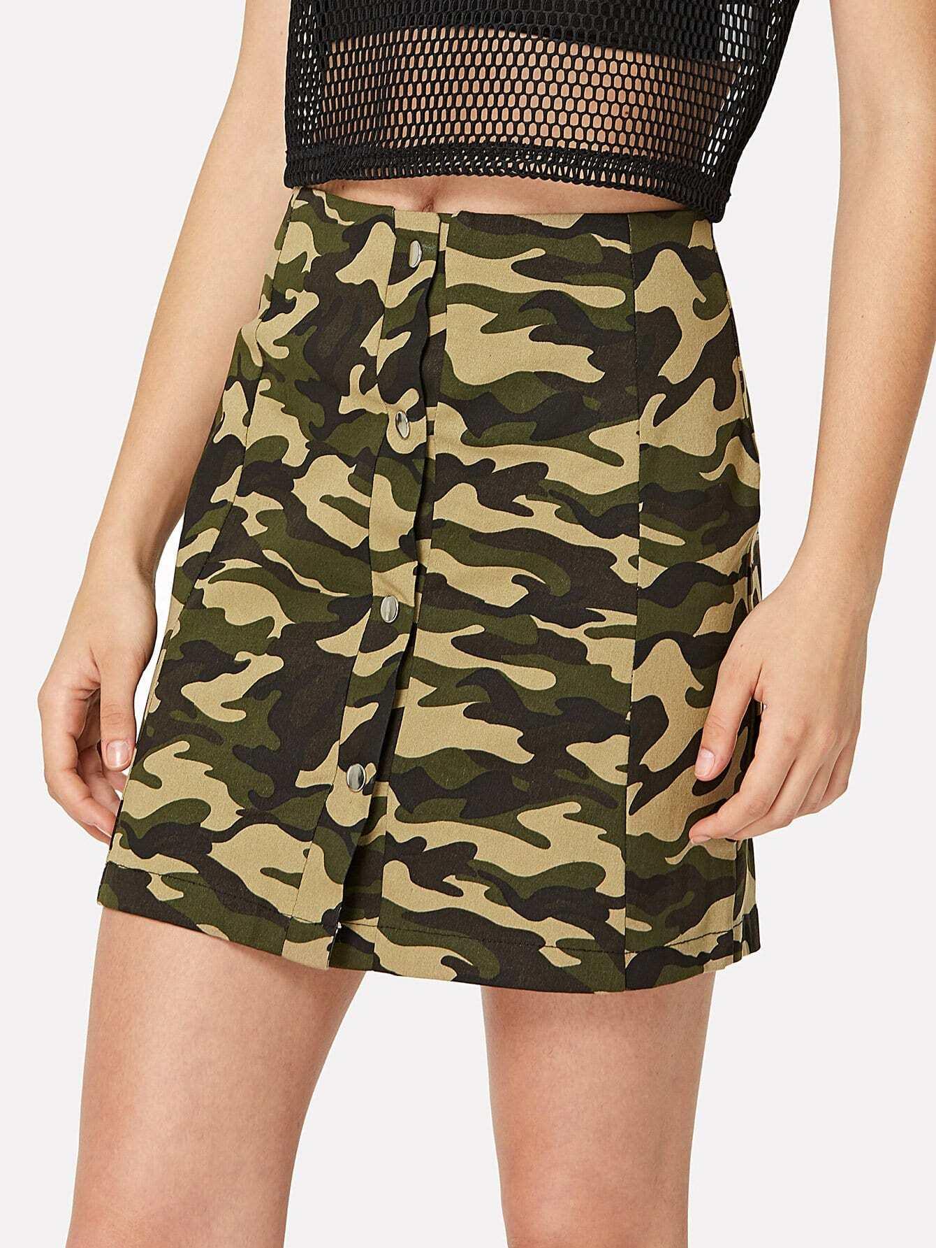Camo Print Button Up High Waist Mini Skirt print high waist skirt