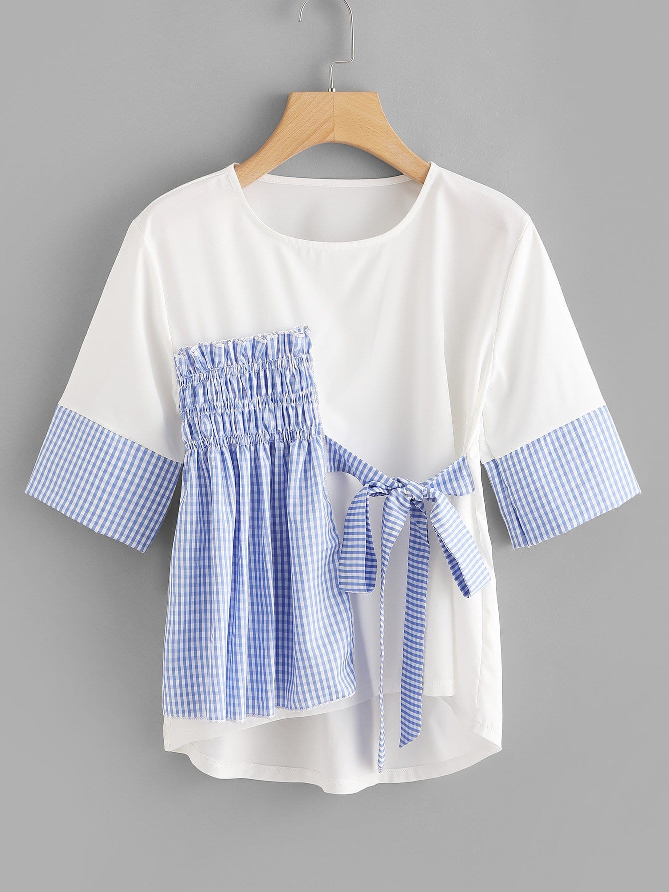 Pleated Detail Knot Front Tee knot front hollow detail blouse