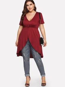 V Neck Asymmetrical Wrap Top