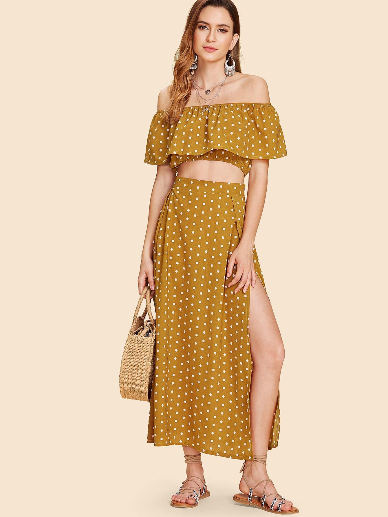 Off Shoulder Polka Dot Top With Splited Dress матрас dreamline springless orto 9 90х195 см