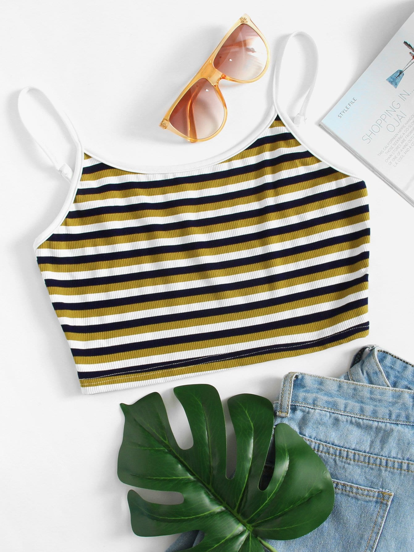 Stripe Colorblock Crop Top knot stripe choker neck crop top