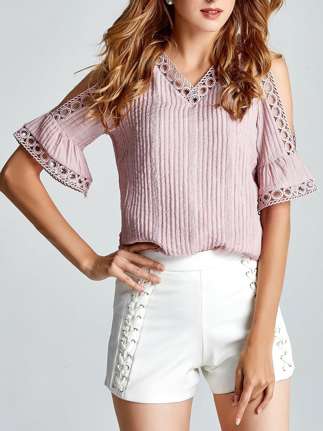Lace Crochet Contrast Open Shoulder Top цена