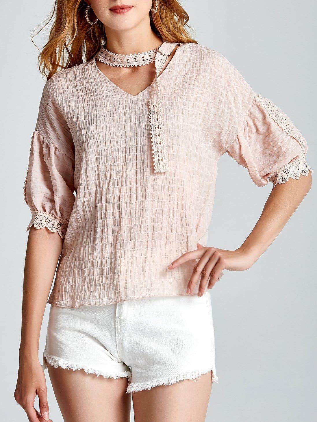 Lace Crochet Contrast Choker Neck Top lace crochet contrast neck blouse