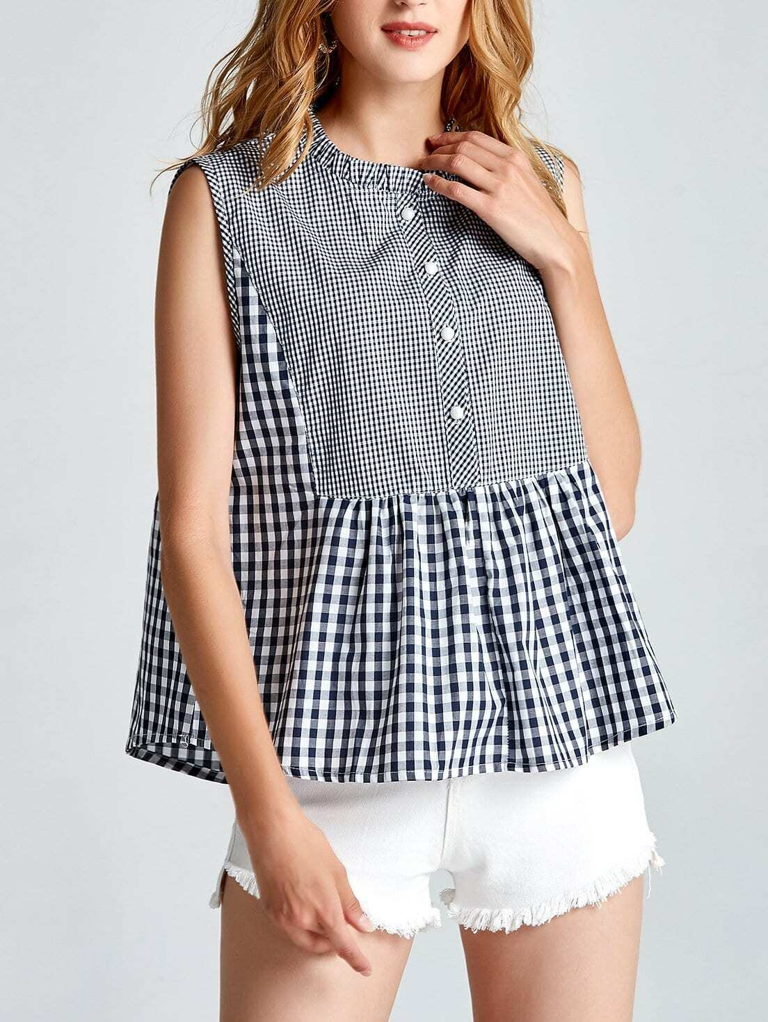 Ruffle Hem Gingham Tank Top ruffle waist zip back scallop hem embroidered gingham skirt
