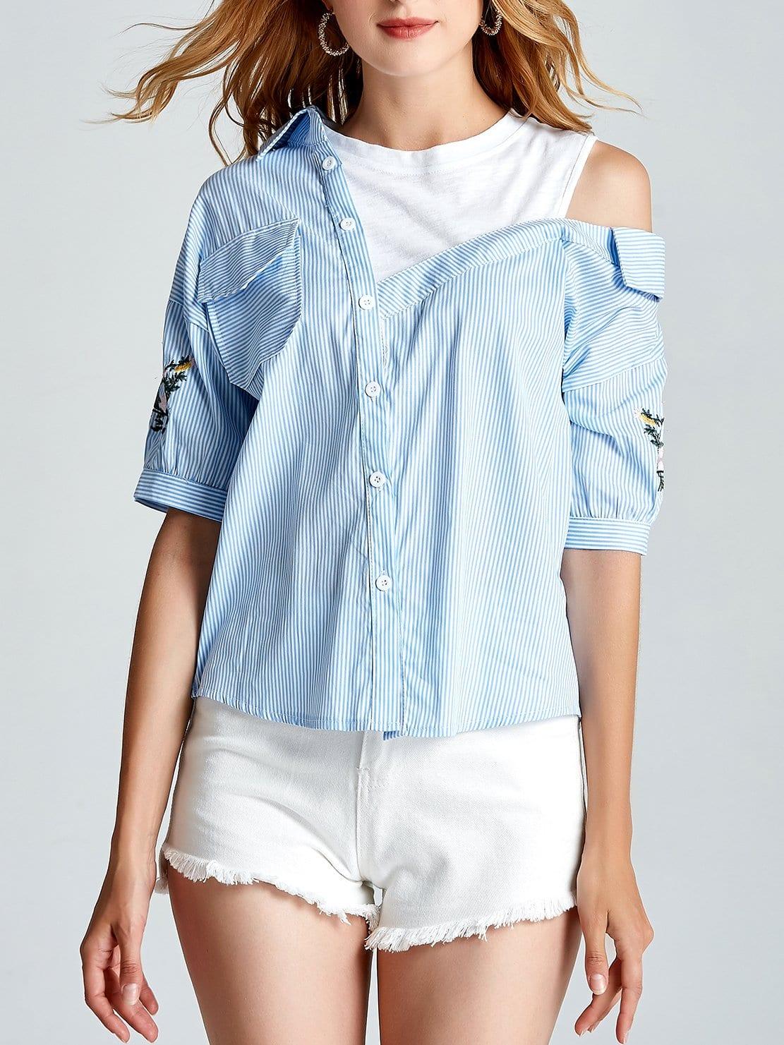 Купить Рубашка с открытыми плечами и полосками и вышивкой, null, SheIn