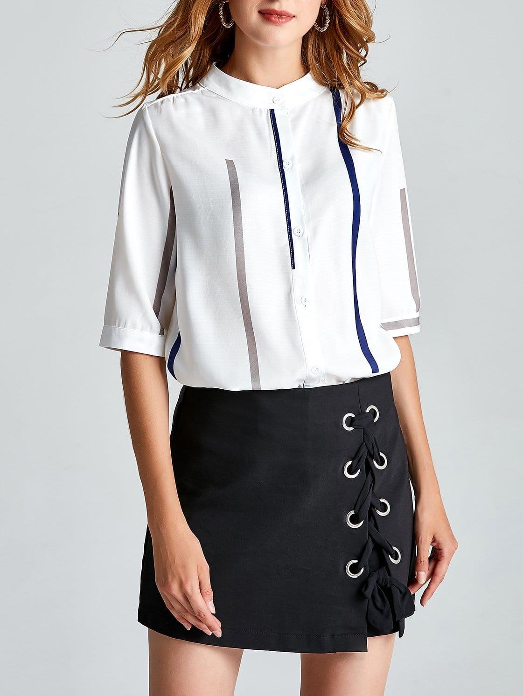 Купить Рубашка с полосками и ложным воротником, null, SheIn