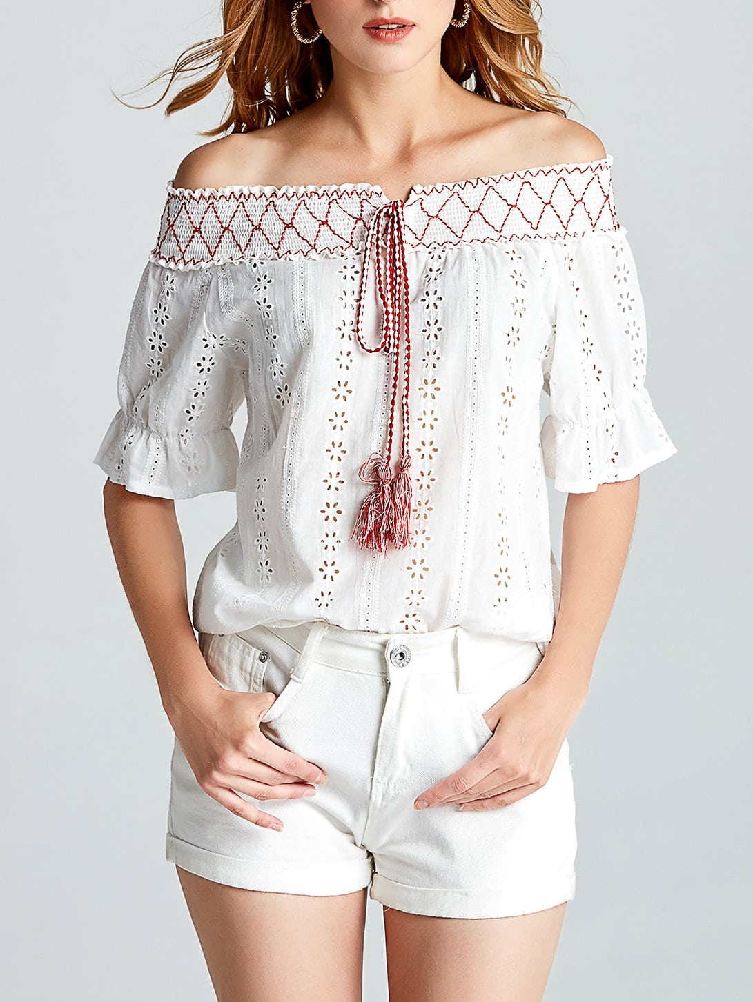 Off Shoulder Hollow Out Self Tie Top off shoulder hollow out self tie top