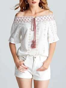 Off Shoulder Hollow Out Self Tie Top