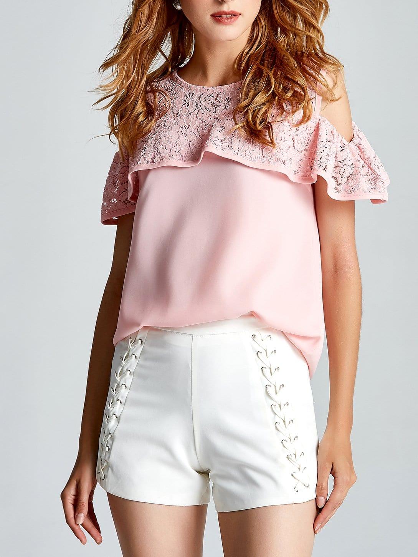 Lace Contrast Open Shoulder Top lace crochet contrast open shoulder top
