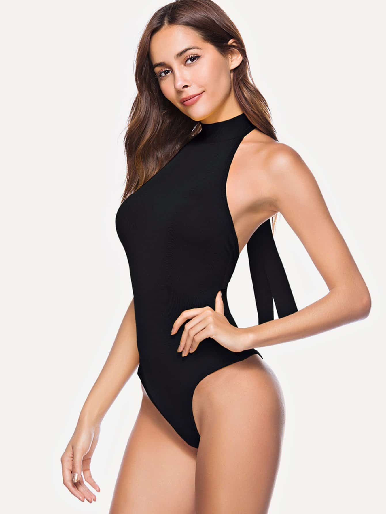 Self Tie Halter Backless Bodysuit split sleeve self tie bodysuit