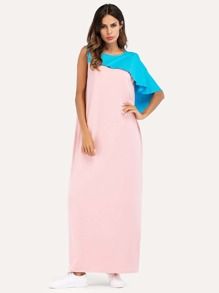 Cut Out Back Tank Dress With Cape