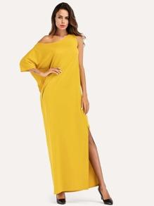 Split Side One Shoulder Mesh Contrast Dress