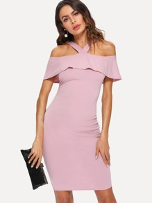 Open Shoulder Ruffle Neck Dress