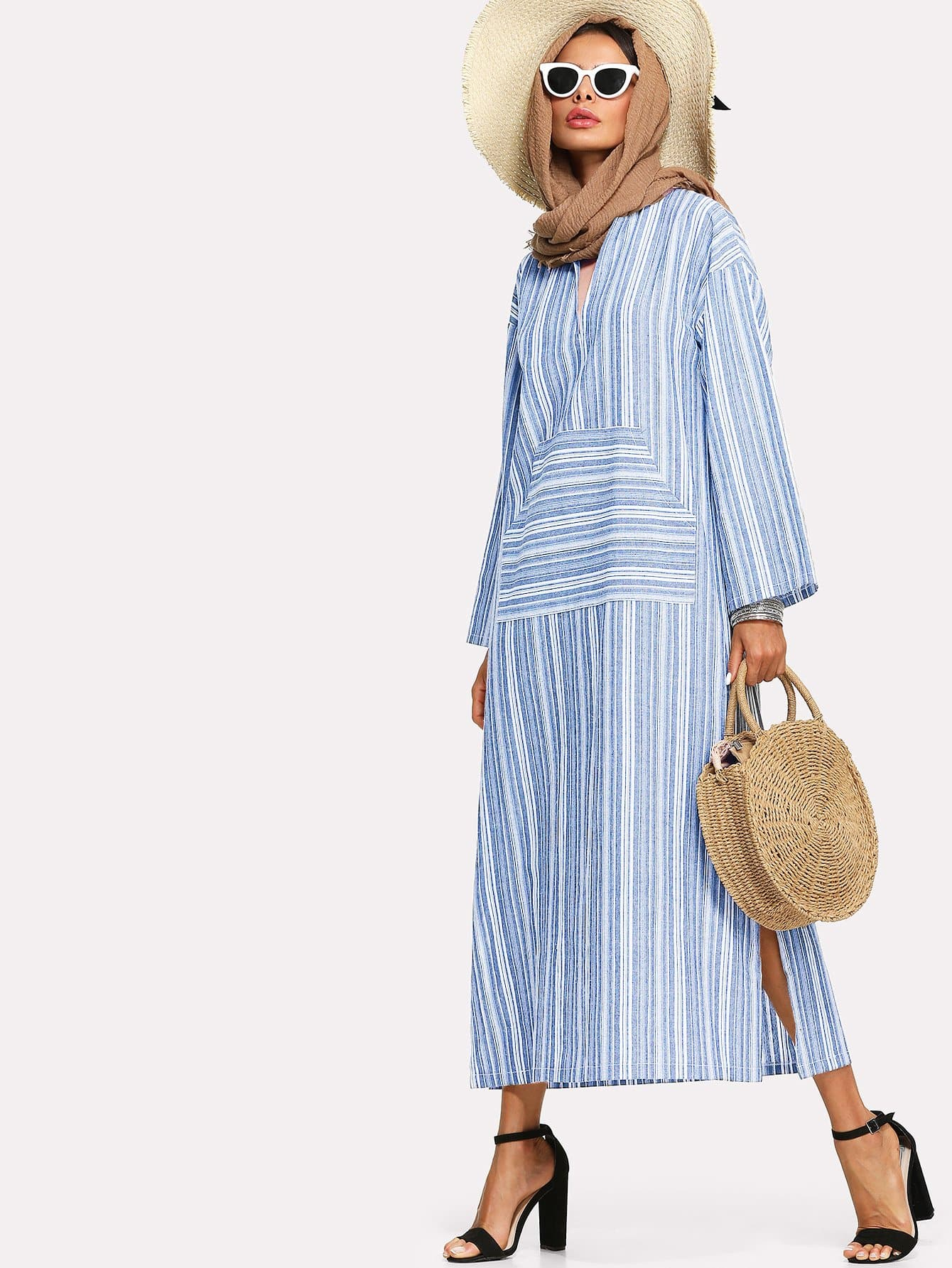 Split Side Stripe Longline Dress split side longline blazer