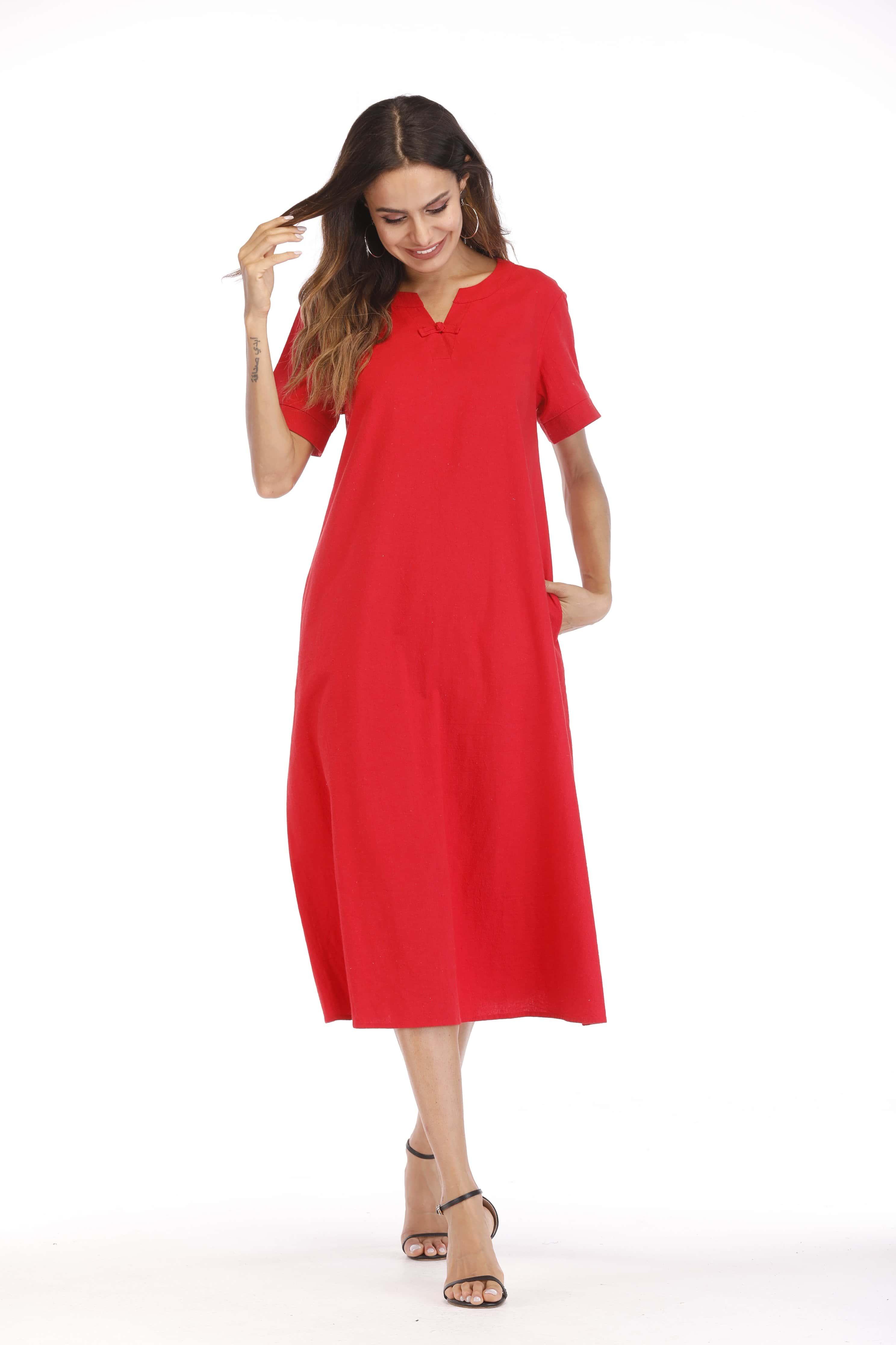 V Neck Hidden Pocket Dress hidden pocket striped dress