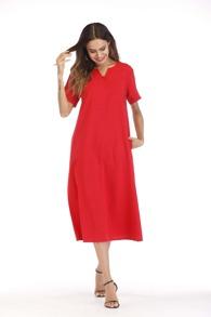 V Neck Hidden Pocket Dress