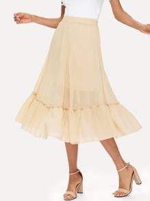 Ruffle Hem Chiffon Skirt