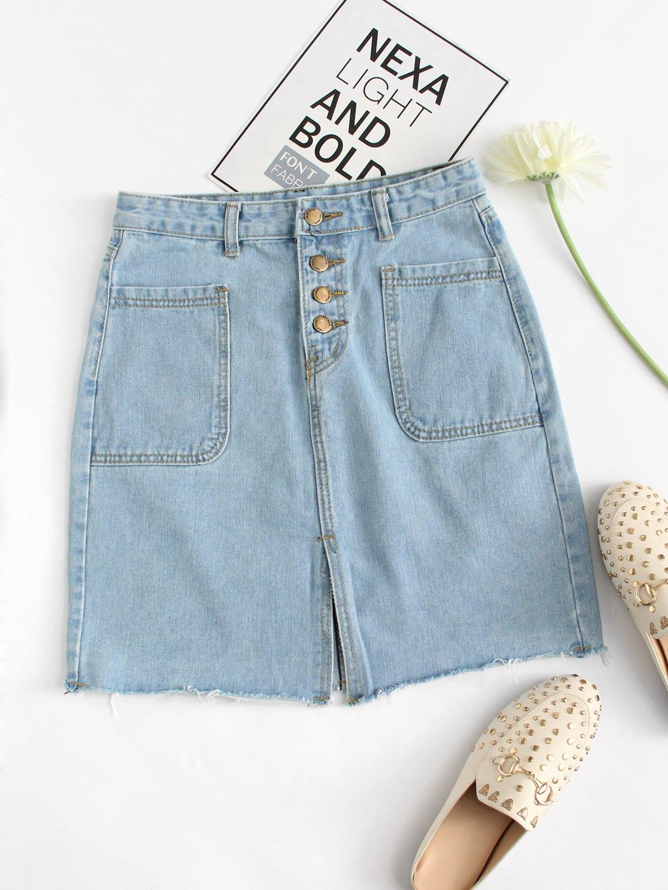 Frayed Hem Button Front Denim Skirt button front denim suspender skirt